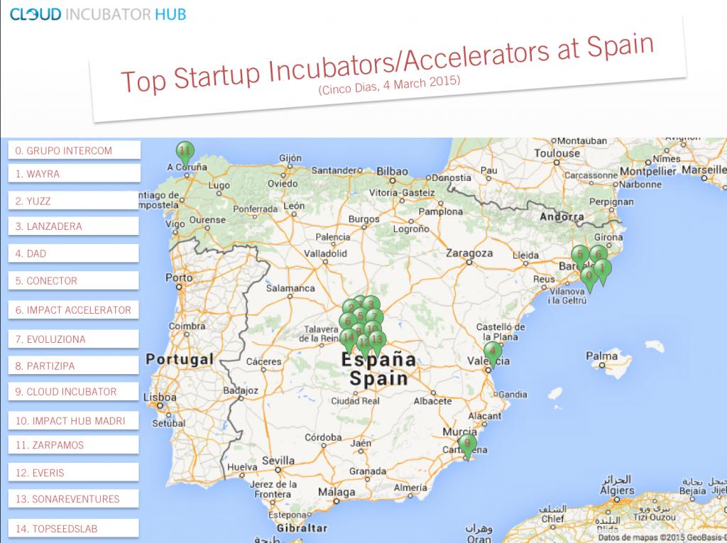 Mapa Top Incubadoras y Aceleradoras en España -Cinco Días