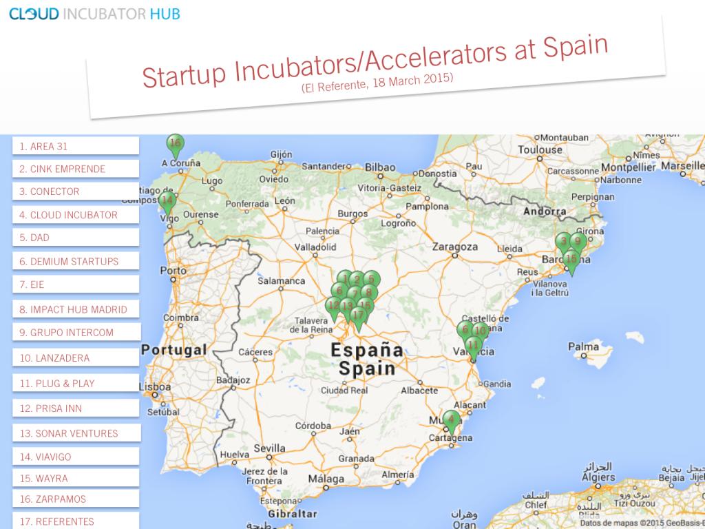 Mapa Top Incubadoras y Aceleradoras en España -El Referente