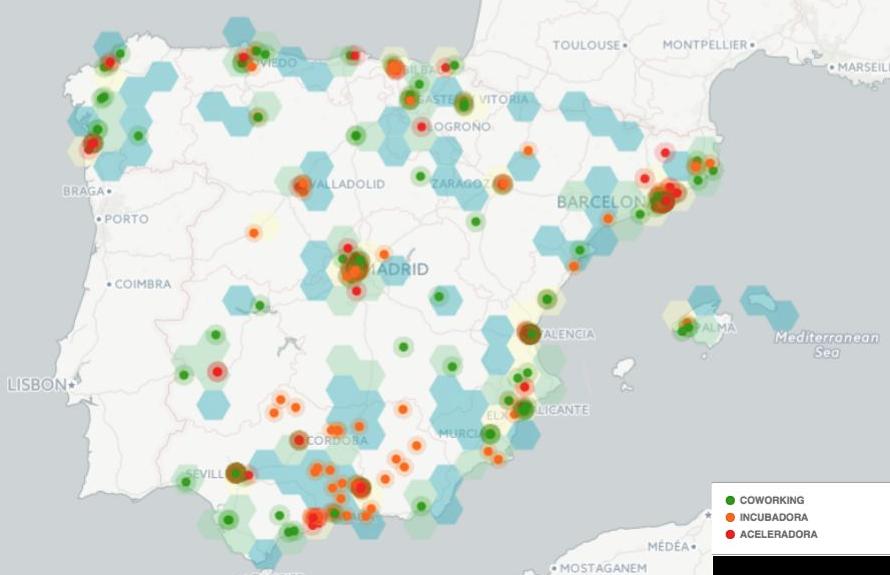 Mapa densidad Startups